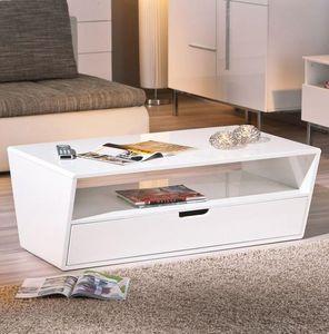 WHITE LABEL - table basse neomi blanche avec un tiroir et une ni - Table Basse Rectangulaire