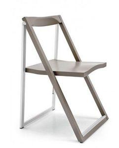 Calligaris - chaise pliante skip grège et aluminium satiné de c - Chaise Pliante