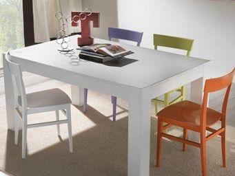 WHITE LABEL - table repas extensible contemporaneo blanche - Table De Repas Rectangulaire