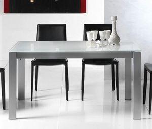 WHITE LABEL - table repas extensible twelve 140 x 85 cm verre bl - Table De Repas Rectangulaire