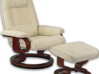 WHITE LABEL - excel fauteuil relax avec repose pieds, cuir beige - Fauteuil Et Pouf