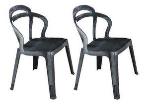 WHITE LABEL - lot de 2 chaises design rainbow en plexiglas gris  - Chaise