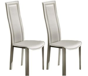 WHITE LABEL - lot de 2 chaises bond en simili cuir taupe clair - Chaise