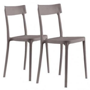 WHITE LABEL - lot de 2 chaises corsocomo empilables taupes - Chaise