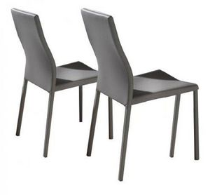 WHITE LABEL - lot de 2 chaises design hellen en simili cuir taup - Chaise