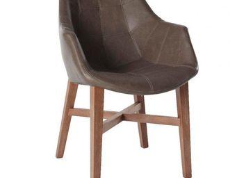 WHITE LABEL - chaise design hermes marron en bois massif - Chaise