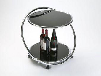 WHITE LABEL - munich table basse en verre sur roulettes - Table D'appoint