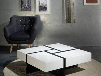 WHITE LABEL - table basse design molly blanche et noire avec 4 t - Table Basse Carr�e