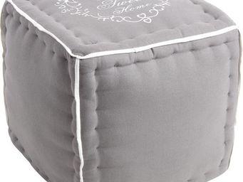 Aubry-Gaspard - pouf en tissu home sweet home - Pouf