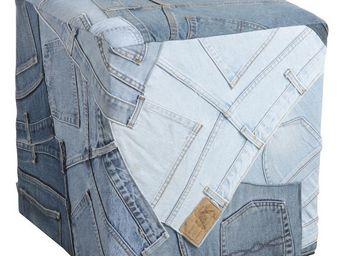 Aubry-Gaspard - pouf carr� en jeans recycl� - Pouf
