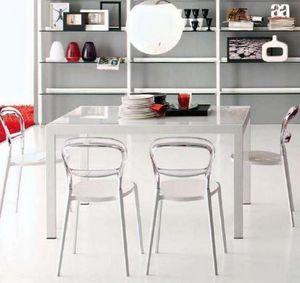 Calligaris - table repas extensible key 130x89 en verre blanc d - Table De Repas Rectangulaire