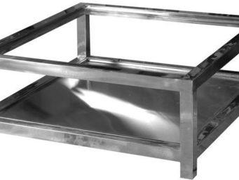 Antic Line Creations - table basse en aluminium et verre manathan - Table Basse Carr�e