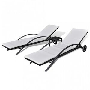 WHITE LABEL - lot de 2 transats de jardin noir + table - Chaise Longue De Jardin