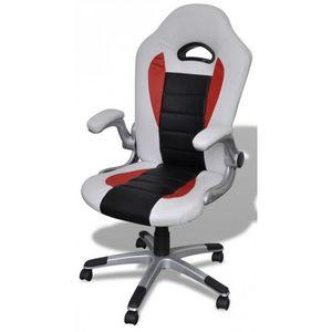WHITE LABEL - fauteuil de bureau sport cuir blanc/noir - Fauteuil De Bureau