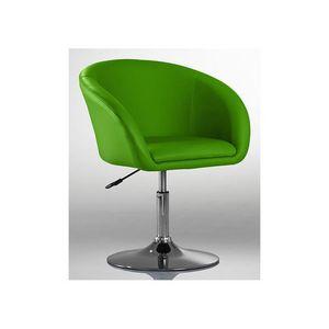 WHITE LABEL - fauteuil lounge pivotant cuir vert - Fauteuil Rotatif