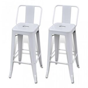 WHITE LABEL - lot de 2 tabourets de bar en acier blanc - Tabouret De Bar