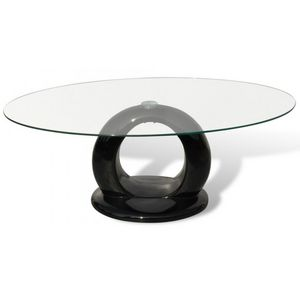 WHITE LABEL - table basse design noir verre - Table Basse Ronde