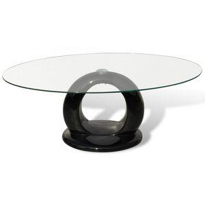 WHITE LABEL - table basse design noir verre - Table Basse Ronde