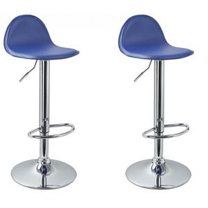 WHITE LABEL - lot de 2 tabourets de bar bleu - Chaise Haute De Bar