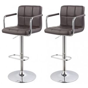 WHITE LABEL - lot de 2 tabourets de bar marron - Chaise Haute De Bar