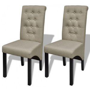 WHITE LABEL - 2 chaises de salle a manger beiges - Chaise