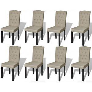 WHITE LABEL - 8 chaises de salle a manger beiges - Chaise