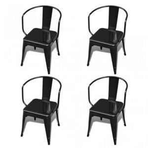 WHITE LABEL - 4 chaises de salle à manger acier factory - Chaise