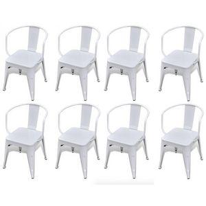 WHITE LABEL - 8 chaises de salle à manger acier factory - Chaise