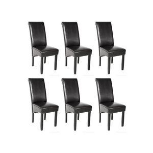 WHITE LABEL - 6 chaises de salle à manger noir - Chaise
