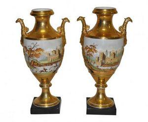 Demeure et Jardin - paire d'urnes antiques - Vase Couvert