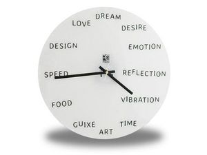 WHITE LABEL - horloge murale avec mots anglais deco maison desig - Horloge Murale