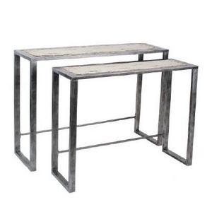 Mathi Design - console métal acier et bois ivoire - Console