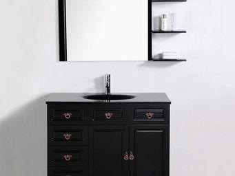 UsiRama.com - meuble salle de bain dark vasque en design noir 1m - Meuble Vasque