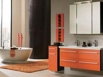 UsiRama.com - meuble salle de bain 2 vasques noir et orange - Meuble Double Vasque