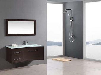 UsiRama.com - meuble salle de bain noir lc 1m vasque verre blanc - Meuble Vasque