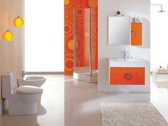 UsiRama.com - meuble salle de bain 80cm laqué blanc orange org - Meuble Vasque