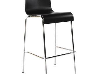 KOKOON DESIGN - tabouret de bar en bois noir en m�tal chrom� 39x37 - Chaise Haute De Bar