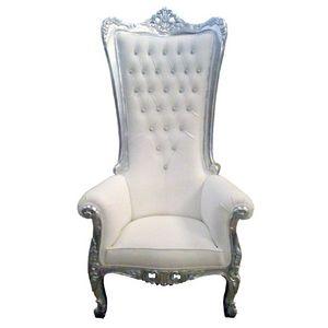 DECO PRIVE - trone royal de mariage 1 pl en bois argente et sim - Fauteuil