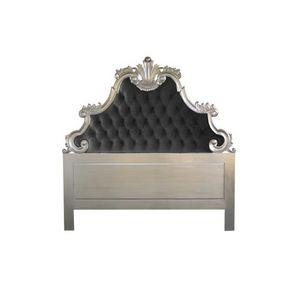 DECO PRIVE - tête de lit sculptée en bois argenté et velours no - Tête De Lit
