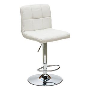 WHITE LABEL - chaise de bar jazz design en simili cuir blanc - Chaise Haute De Bar