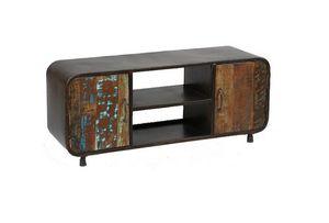 WHITE LABEL - meuble tv recover en métal et bois recyclés - Meuble Tv Hi Fi