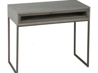 WHITE LABEL - table à écrire industry cérusé gris avec 1 tiroir - Bureau