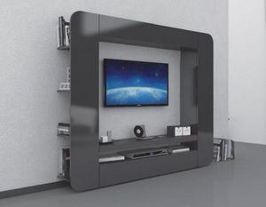 WHITE LABEL - meuble design tv prisma 2 anthracite - Meuble Tv Hi Fi