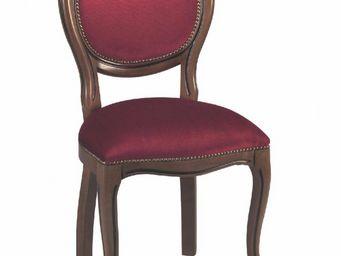 WHITE LABEL - chaise médaillon marus merisier et velours bordeau - Chaise