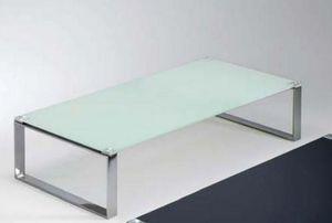 WHITE LABEL - table basse miami design en verre blanc - Table Basse Rectangulaire