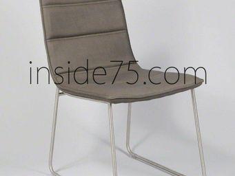 WHITE LABEL - chaises design dodge façon cuir taupe piétement mé - Chaise