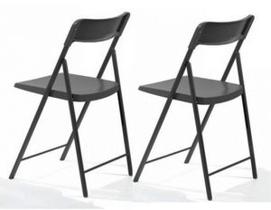WHITE LABEL - lot de 2 chaises pliantes kully gris graphite - Chaise Pliante