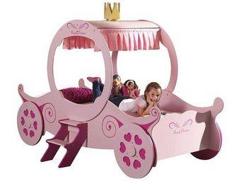 WHITE LABEL - lit carrosse funbeds rose design princess kate - Lit Enfant