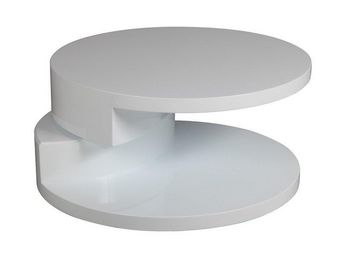 WHITE LABEL - table basse ronde design azur blanche - Table Basse Ronde