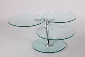 WHITE LABEL - table basse nemesis en verre - Table Basse Ronde